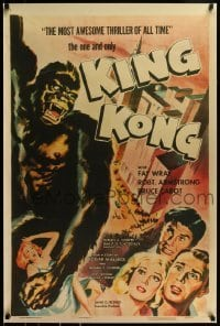2z993 KING KONG 27x41 REPRO poster 1990s great reproduced image from R1956 style A one sheet!