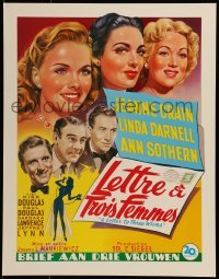 2z995 LETTER TO THREE WIVES 15x20 Belgian REPRO poster 1990s Crain, Darnell, Sothern, Douglas!
