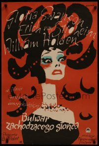 2z996 SUNSET BOULEVARD 22x33 Polish REPRO poster 1980s cool art of Gloria Swanson by Swierzy!