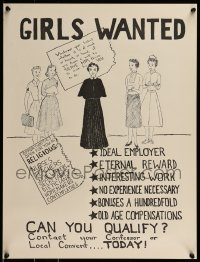 2z687 GIRLS WANTED 18x23 special poster 1940s art of five women, can you qualify to become a nun?