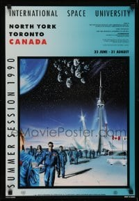 2z720 INTERNATIONAL SPACE UNIVERSITY 18x26 Canadian special poster 1990 ISU, France, cool artwork!