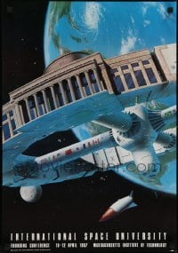 2z722 INTERNATIONAL SPACE UNIVERSITY 18x26 special poster 1987 ISU, France, cool artwork!