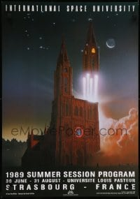2z721 INTERNATIONAL SPACE UNIVERSITY 18x26 French special poster 1989 ISU, France, cool artwork!