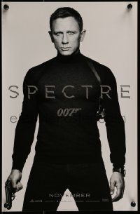 2z966 SPECTRE teaser mini poster 2015 cool image of Daniel Craig as James Bond 007 with gun!
