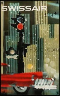2z234 SWISSAIR USA 25x40 Swiss travel poster 1961 image of a traffic light by Nikolaus Schwabe!