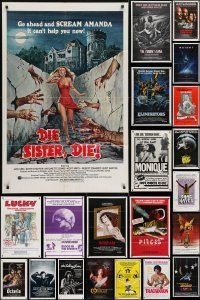 3s028 LOT OF 105 FOLDED ONE-SHEETS 1970s-1980s great images from a variety of different movies!