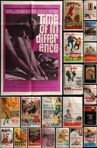 3s067 LOT OF 46 FOLDED ONE-SHEETS 1950s-1980s great images from a variety of different movies!