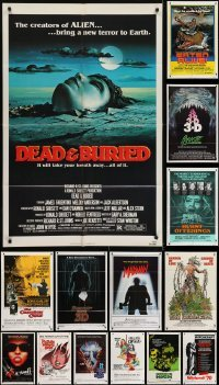3s079 LOT OF 16 FOLDED HORROR ONE-SHEETS 1970s-1980s great images from a variety of different movies!