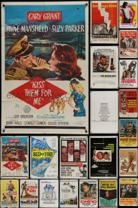 3s076 LOT OF 24 FOLDED ONE-SHEETS 1950s-1980s great images from a variety of different movies!