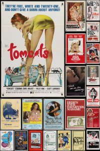 3s038 LOT OF 82 FOLDED SEXPLOITATION ONE-SHEETS 1960s-1980s sexy images with some nudity!