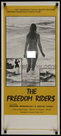 3t007 FREEDOM RIDERS Aust daybill 1972 completely naked Aussie surfer girl, yellow border design!