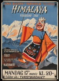 3t001 HIMALAYA VERDENS TAG Norwegian 1951 Jens Bjerre Danish travel documentary, wild artwork!