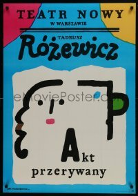 3t754 AKT PRZERYWANY stage play Polish 26x38 1984 cool, colorful abstract Jan Mlodozeniec artwork!