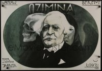 3t722 OZIMINA stage play Polish 23x33 1983 wild, different close-up art of man with skull and woman!