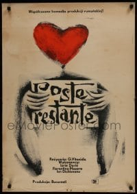 3t724 POST RESTANT Polish 23x33 1963 completely different art arms and heart by Roman Opalka!