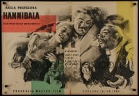 3t725 PROFESSOR HANNIBAL Polish 23x33 1957 artwork of happy top cast by Lucjan Jagodzinski!