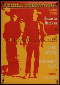 3t726 RED RIVER Polish 23x32 1967 Zbikowski silhouette art of Wayne & Clift, Howard Hawks!