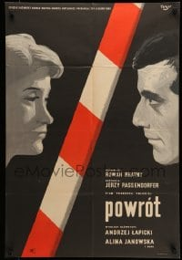 3t727 RETURN Polish 23x34 1960 Jerzy Passendorfer, cool Fangor art of Janowska & Lapicki!