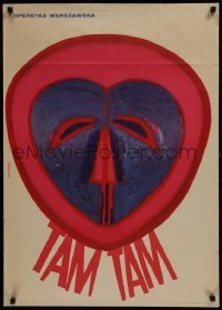 3t736 TAM TAM stage play Polish 24x34 1967 really cool Kulmewska artwork of tribal mask!