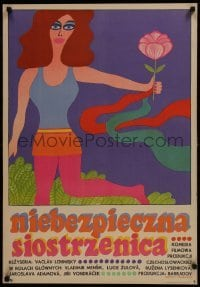 3t741 VIRGINITY & PRISON Polish 23x33 1970 Mensik, colorful Krajewski art of girl holding flower!