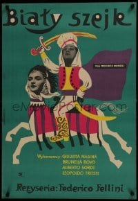 3t743 WHITE SHEIK Polish 23x34 1960 Federico Fellini's Lo Sceicco Bianco, different Stachurski art!
