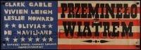 3t747 GONE WITH THE WIND Polish 14x38 1963 completely different flag artwork by Maria Niklewska!