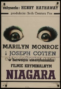 3t748 NIAGARA Polish 20x30 1966 Marilyn Monroe, Joseph Cotten, Freudenreich art of eyes!