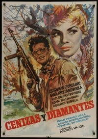 3t020 ASHES & DIAMONDS Spanish 1964 Andrzej Wajda's Popiol I Diament, different art by Mac Gomez!