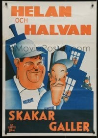 3t035 PARDON US Swedish R1940s wonderful different art of convicts Stan Laurel & Oliver Hardy!
