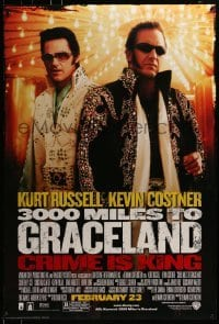 3w009 3000 MILES TO GRACELAND advance DS 1sh 2001 Kurt Russell & Costner as Elvis impersonators!