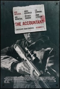 3w013 ACCOUNTANT advance DS 1sh 2016 Jon Bernthal, Lithgow, Ben Affleck with high-power rifle!