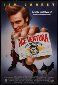 3w014 ACE VENTURA PET DETECTIVE 1sh 1994 Jim Carrey tries to find Miami Dolphins mascot!