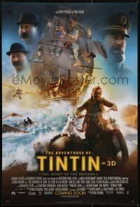 3w019 ADVENTURES OF TINTIN int'l advance DS 1sh 2011 Spielberg's CGI version of the Belgian comic!