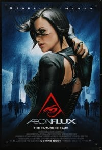 3w020 AEON FLUX advance DS 1sh 2005 sexy futuristic Charlize Theron in black outfit!