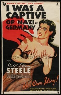3w001 I WAS A CAPTIVE OF NAZI GERMANY style B 1sh 1936 Nazis imprison American girl, true story!