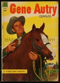 3x009 GENE AUTRY COMICS comic book April 1953 cover portrait of Gene brushing his horse, Champion!