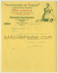 3x023 ADVENTURES OF TARZAN 9x11 booking letter February 28, 1922 cool letterhead of Elmo Lincoln!