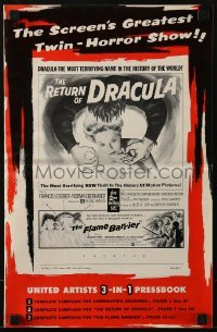 3x851 RETURN OF DRACULA/FLAME BARRIER pressbook 1958 the screen's greatest twin-horror show!