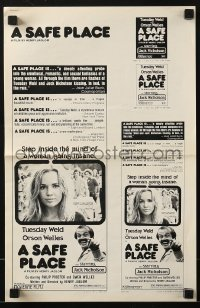 3x865 SAFE PLACE pressbook 1971 Orson Welles, romantic image of Jack Nicholson & Tuesday Weld!