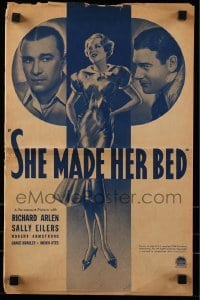 3x882 SHE MADE HER BED pressbook 1934 Sally Eilers between Richard Arlen & Robert Armstrong!