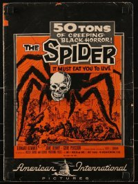 3x903 SPIDER pressbook 1958 completely different image of giant monster with skull head!