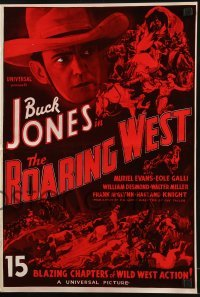 3x856 ROARING WEST re-creation pressbook 1970s cowboy Buck Jones, cool western serial art!