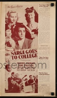 3x870 SARGE GOES TO COLLEGE pressbook 1947 Frankie Darro, Noel Neill, Alan Hale Jr., The Teen Agers