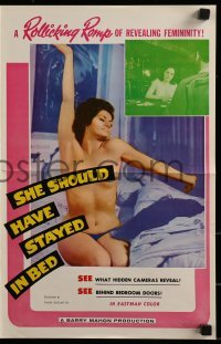 3x883 SHE SHOULD HAVE STAYED IN BED pressbook 1963 Barry Mahon, hidden cameras behind bedroom doors!