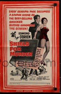 3x884 SHIELD FOR MURDER pressbook 1954 Edmond O'Brien is a dame-hungry killer-cop running berserk!
