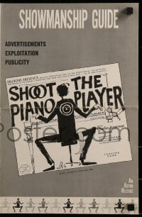 3x885 SHOOT THE PIANO PLAYER pressbook 1962 Francois Truffaut's Tirez sur le pianiste, cool art!