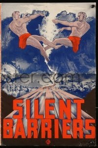 3x887 SILENT BARRIERS pressbook 1937 great artwork of two giants tearing down mountain, Arlen!