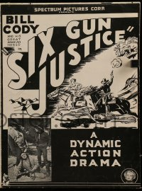 3x890 SIX GUN JUSTICE pressbook 1935 cowboys Bill Cody, Donald Reed, Wally Wales & Frank Morgan!