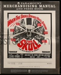 3x891 SKULL pressbook 1965 Peter Cushing, Christopher Lee, cool horror artwork of creepy skull!