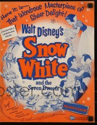 3x896 SNOW WHITE & THE SEVEN DWARFS pressbook R1958 Walt Disney animated cartoon fantasy classic!